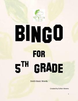 Bingo for 5th Grade