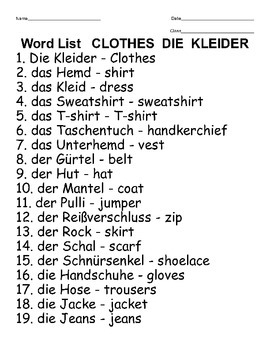 Bingo game for the German words for clothing KLEIDER