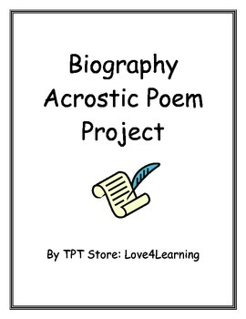 Biography Acrostic Poem Project