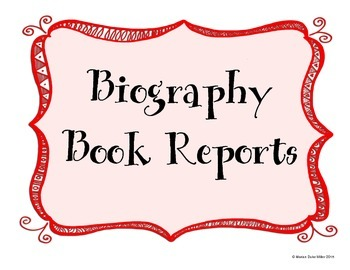 Biography Book Report Worksheets and Display Posters