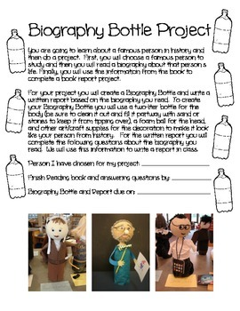 Biography Bottle Project {Guiding Questions for Students a