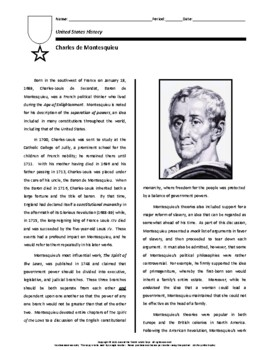 Biography: Charles de Montesquieu
