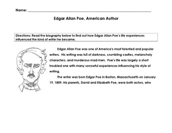 Biography EDGAR ALLAN POE, AMERICAN WRITER w 15 Mult Choic