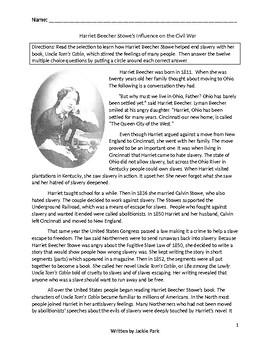 Biography HARRIET BEECHER STOWE INFLUENCED THE CIVIL WAR w