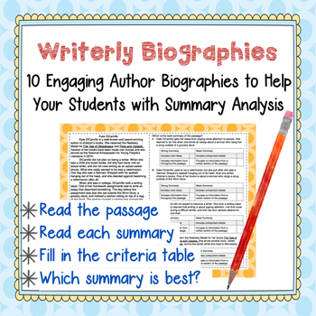 Biography Mini-Passages With Summary Analysis--Weed out th