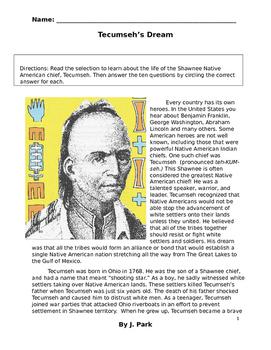 History TECUMSEH Native America Shawnee Indian w/ 10 Readi