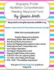 Biography Profile Nonfiction Reading Response Form