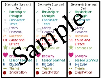 Biography Stop and Jot Bookmark