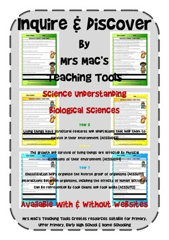 Biological Sciences - Year 5,6,7 With & Without Websites -