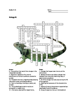 Biology #01 - Study of Life - Crossword Puzzle