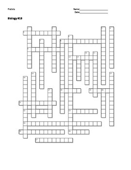 Biology #19 - Protists - Crossword Puzzle