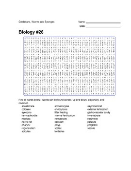 Biology #26 - Cnidarians, Worms and Sponges - Wordsearch Puzzle