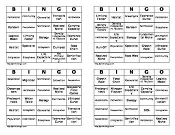 Biology Bingo - Ecology Bingo