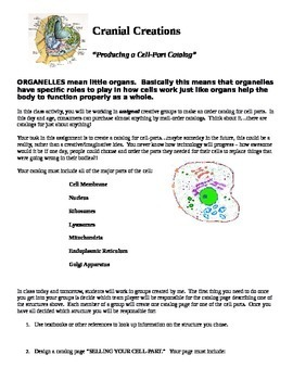 """Biology Cell Unit Project - Designing a """"Cell Parts"""" Order"""