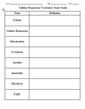 Biology - Chapter 9: Cell Respiration Vocab Study Guide
