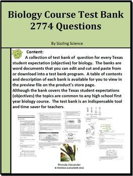 Biology Course Test Banks 2774 Questions