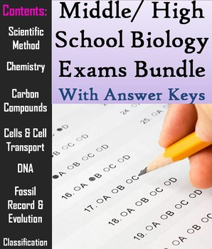 Biology Tests Bundle: Middle School or High School Appropr