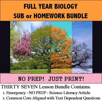 Biology Homework or Sub Full Year Bundle