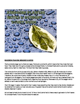 Biology Kingdom Plantae Lecture notes and Student Study Guide