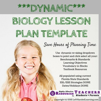 Biology Lesson Plan Template - Automated Plan Book Fills I
