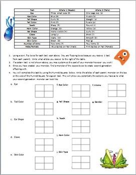 Biology Monster Genetics Instructions Punnett Square Worksheet