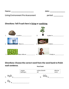 Biology Pre Assessment for English Language Learners