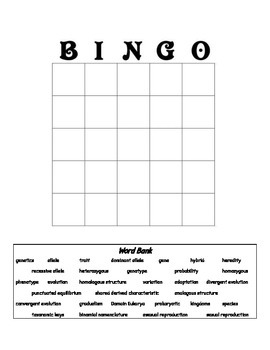 Biology Review Bingo Card (Classification, Evolution and G