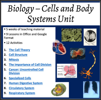 Biology Complete Unit: Cells and Body Systems - Lessons an