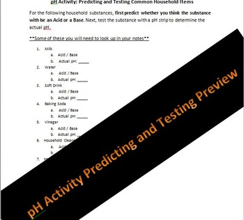 Biology or Physical Science pH Predicting and Testing Lab