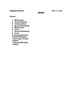 Biomes Answer sheet