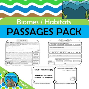 BIOMES Informational Text Reading Passages Comprehension Q