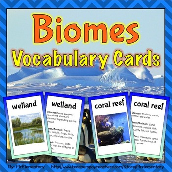 Biomes Vocabulary Trading Cards