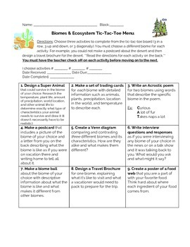 Biomes and Ecosystems Tic Tac Toe Menu