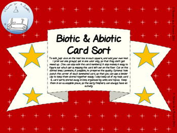 Biotic and Abiotic Card Sort Activity w/ Answer Key