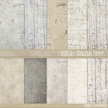 Birch Digital Papers, Wood Grain Backgrounds, Woodland Out
