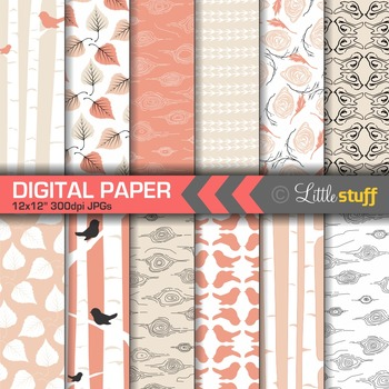 Birch Tree Digital Backgrounds, Terra Cotta Digital Paper