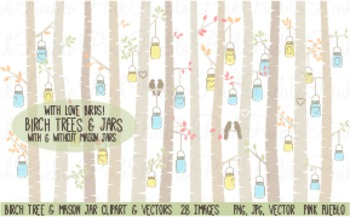 Birch Trees and Mason Jars Clipart Clip Art - Commercial a