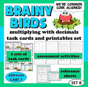 Brainy Birds - multiply decimals/whole numbers task cards