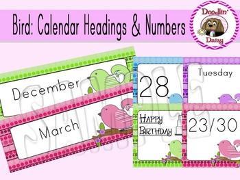Bird: Calendar Headings & Numbers (Polka Dots)