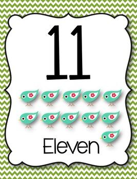 *Bird & Chevron* Numbers 11-20 {Freebie!}