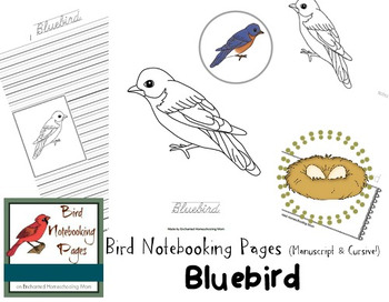 Bird Notebooking Pages Weekly Series Bluebird Pack