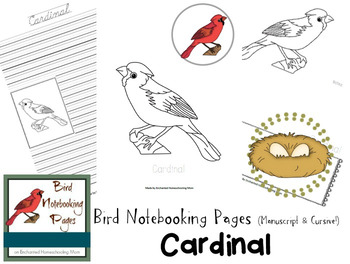 Bird Notebooking Pages Weekly Series Cardinal Pack