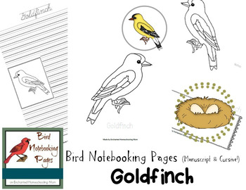 Bird Notebooking Pages Weekly Series Goldfinch Pack