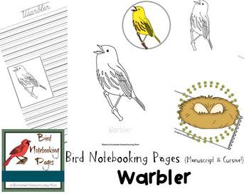 Bird Notebooking Pages Weekly Series Warbler Pack