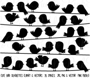 Bird Silhouettes Clipart Clip Art - Commercial and Personal Use