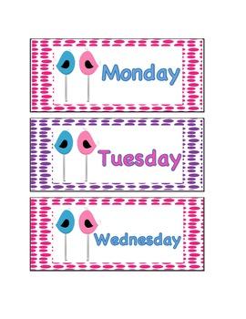 Bird Theme Days  of the Week