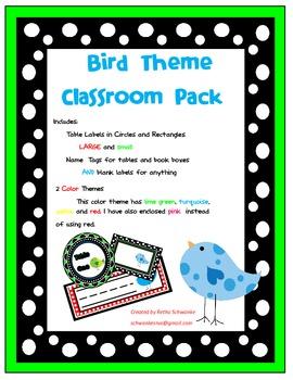 Bird Theme Classroom Pack
