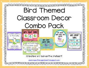 Bird Themed Classroom Decor Combo Pack
