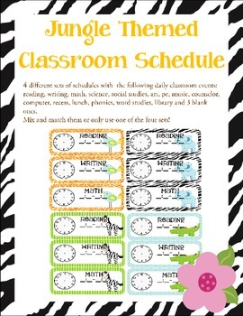 Jungle Themed Classroom Schedule