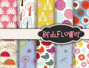 Bird and Flower Digital Paper Tree Flower Lady Bug Bird Sc